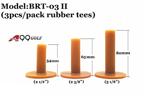 A99 Golf Rubber Tees Practice Golf Tees (BRT-03 II Brown 3pcs/Pack Diff (3 Rubber Tees)