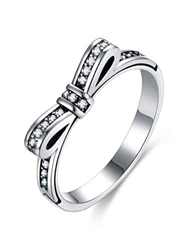 Presentski Fashion 925 Sterling Silver with Austrial Cubic Zircon Bow Ring Gift for lovers ()