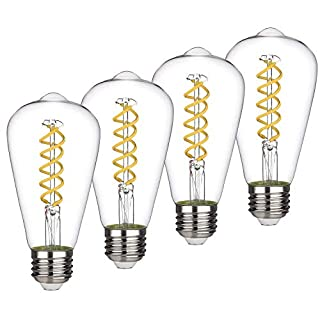 8W Dimmable Vintage LED Edison Bulbs, Daylight 5000K, Antique LED Filament Light Bulbs, 8W Equivalent to 60W, ST64(ST21) 800LM E26 Medium Base, Clear Glass (8W-5000K-4 Pack)