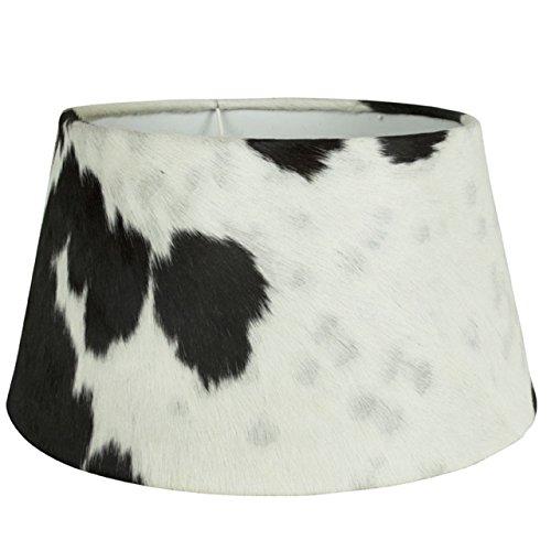 HomeStylist Mars & More–Abat-Jour–– Cuir–Acier–Peau de Vache Noir/Blanc Ø 40cm