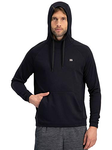 Dry Fit Mens Hoodies Pullover - Workout Sweatshirts for Men w/Adjustable Hoodie Black
