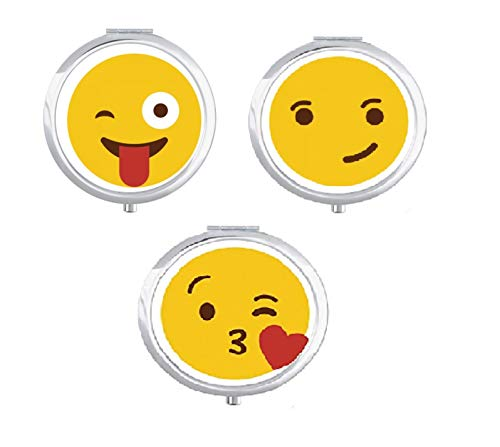 Okayji Pill Organizer Customize Cartoon Emoji Pill Case Boxes with 3 Components and Mirror, 3- Pieces