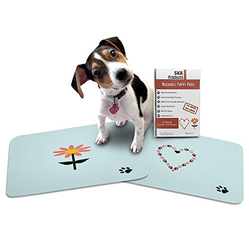 Cute Washable Puppy Pee Pads | 2 Pack Flower, Heart Designs | Large Super Absorbent Wee Wee Potty Mats | Dog Housebreaking, Pet Crate Training | Multi-Purpose Reusable Eco-Friendly | Whelping