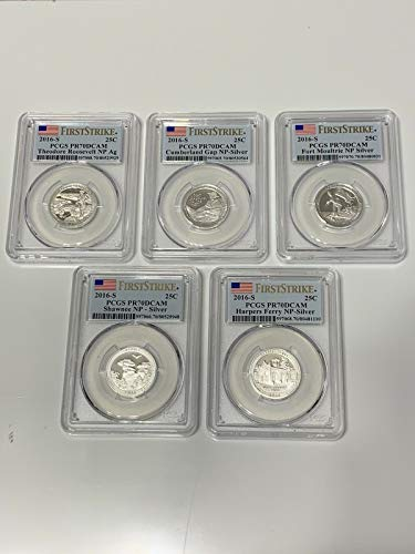 2016 S America the beautiful 2016 S PCGS PR-70 Silver Quarter Proof Set First Strike Deep Cameo 5 Coins PR-70