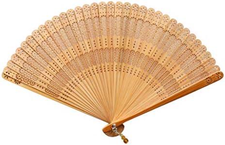 折りたたみ手のファン 中国風の竹製のファンポータブルファンのお土産扇子ギフトファンフロント装飾ファン (Color : Natural)