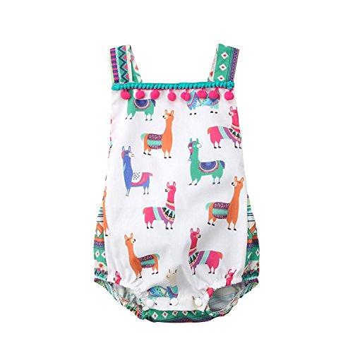 BELS Summer Baby Girls Cute Animals Alpaca Lace Ruffle Sleeveless Backless Tassels Halter One-Piece Romper Jumpsuit Bodysuit(Multicolor, 90/12-18Months)