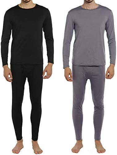 ViCherub Men Thermal Underwear Set Fleece Lined Long Johns Winter Base Layer Top  Bottom 2 Sets for