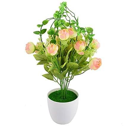 eDealMax Oficina plástico arte de DIY decorativo simulación Artificial de la Flor de Rose 14.6 pulgadas