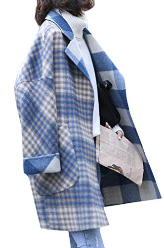 (WAWAYA Women's Winter Woollen Blend Plus Size Plaid Oversized Trench Pea Coat Overcoat Blue 2XL)