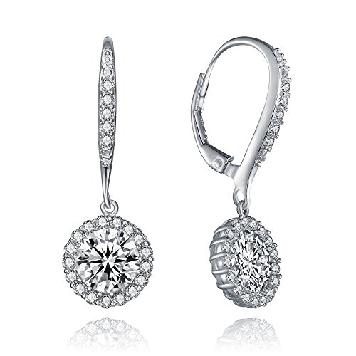 Bridal Cubic Zirconia Halo Earring Collection by Lux and Glam Jewelry - Heart Drop Earring, Square Drop Earring and Pear Cut Drop Earrings Set (Round (Pear Round Jewelry Set)