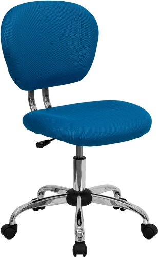 Flash Furniture Mid-Back Turquoise Mesh Swivel Task Chair with Chrome Base