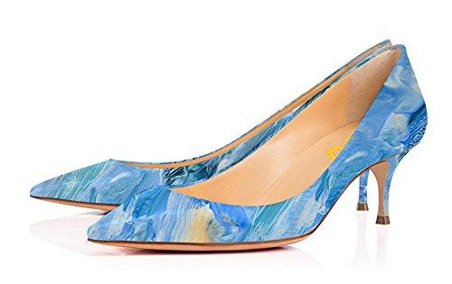 Fsj Donna Splendida Tacco Alto Gattino Tacchi Pompe Con Scarpe A Punta Per Le Dimensioni Del Vestito 4-15 Us Blu