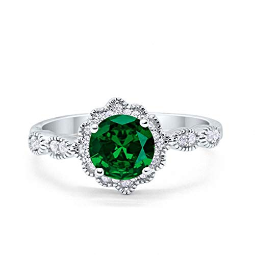 Blue Apple Co. Halo Floral Art Deco Wedding Engagement Ring Simulated Emerald Round Cubic Zirconia 925 Sterling Silver, Size-7 ()