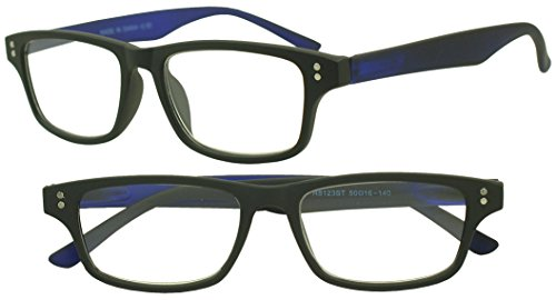 Sunglass Stop - Colorful Neon Rubberized Horn Rimmed Rx Optical Reading Readers Glasses Strength +1.00, +1.50, +1.75, +2.00, +2.50, +3.00 (Black | Blue , - Horn Rimmed Black Reading Glasses