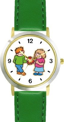 Boy and Girl with Valentine - WATCHBUDDY DELUXE TWO-TONE THEME WATCH - Arabic Numbers - Green Leather Strap-Women's Size-Small by WatchBuddy