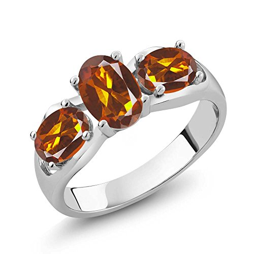 Madeira Citrine Ring (1.50 Ct Oval Orange Red Madeira Citrine 925 Sterling Silver Ring)