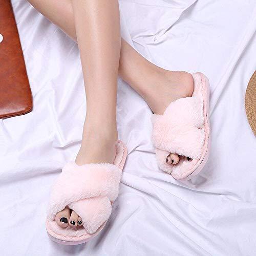38 Rose Yiwuhu Mignons Rose Couleur 2 EU Taille Tongs Sauvage Coton Pantoufles 3 Maison 1460Wzqwf4