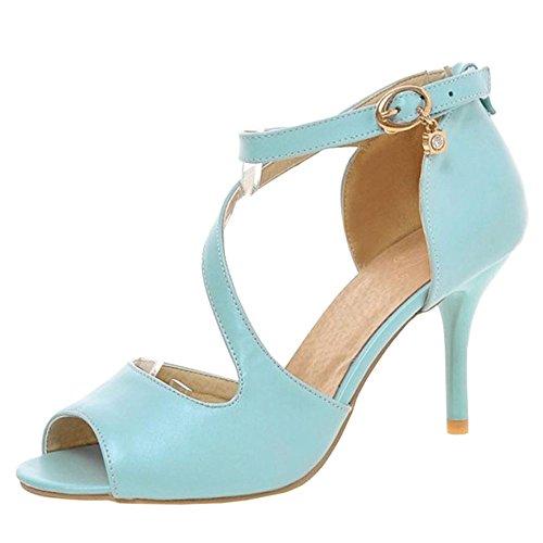 con Tacco Donna Scarpe Sandali TAOFFEN Toe Blue Peep 17Pwq1ZB