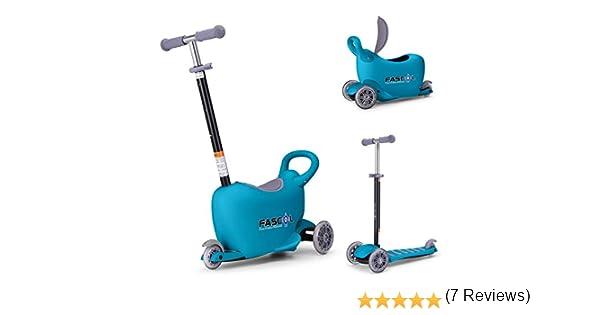 Fascol Multifunción 3 en 1 Patinete de 3 Ruedas Niños Scooter para 1 a 10 Años Niños Max carga 50 kg, Azul