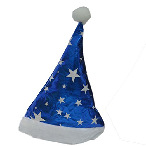 Leoy88 Traditional Christmas Party Velvet Santa Hat Cap Xmas Hat with Plush for Adults (Blue)