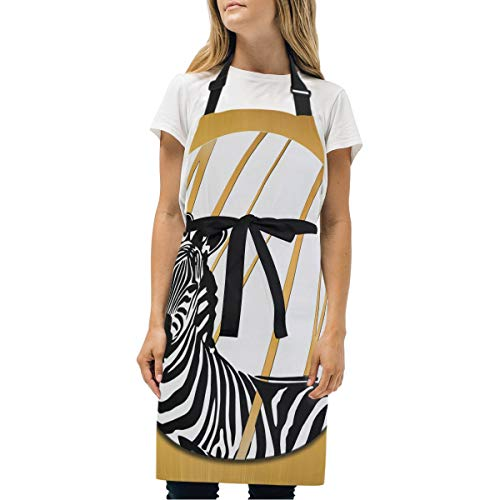 (MHGRY MUK BBQ Grill Apron Round Yellow Zebra Chef Aprons with 2 Pockets Adjustable Neck and Extra Long Waist Ties Bib Apron for Cooking Baking)