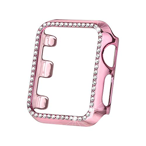 Stone Bling - Secbolt Bling Case Compatible Apple Watch Band 38mm 40mm 42mm 44mm, Full Cover Bumper Protective Frame Screen Protector for Iwatch Series 4 3 2 1, Rose Pink(42mm)