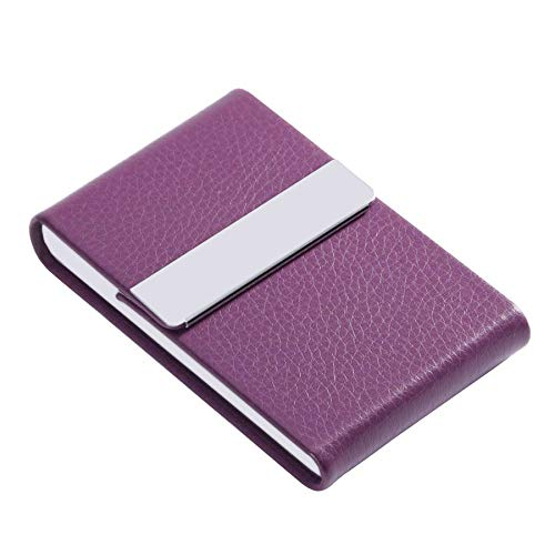 JuneLsy Business Card Holder - Professional PU Leather Business Card Case Metal Name Card Holder Pocket Business Card Carrier for Men & Women with Magnetic Shut (Purple) ()
