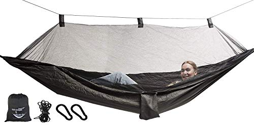 Krazy Outdoors Mosquito Net Hammock - Extra Strong Ripstop Nylon Camping Hammock - Reversible, Compact, Lightweight & Portable with Bug Free Netting - Great for Travel, Beach or Yard (Dark Green)