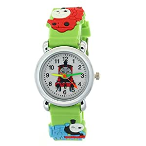 TMSNPY Kid's NLG-K-232 Timermall Thomas Tank Engine Friends Cute Cartoon Analogue Quartz Green Watch