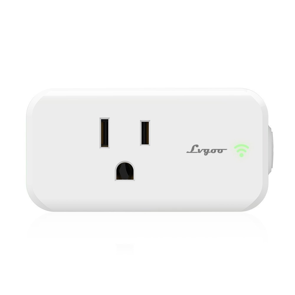 Lvgoo Rectangle WiFi Smart Plug,Works with Amazon Echo Alexa ,MINI Smart Power Socket Outlet,Turn ON/OFF Electronics from Anywhere,For iPhone IOS Android APP