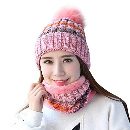 Home Prefer Womens Knitted Pompon Hat with Scarf Set Sherpa Lined Winter Beanie Cap Pink