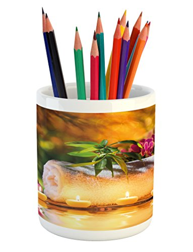 Ambesonne Spa Pencil Pen Holder, Asian Classic Spa Day Joy i