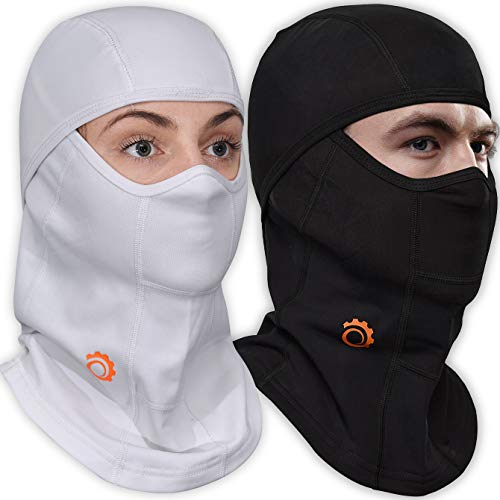 Face Mask Motorcycle Balaclava (Black+White-2 Pack)
