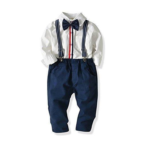 Baby Boys Fashion Gentleman Pants Clothing Set Long Sleeves Shirt+Suspender Colorful Pants+Bow Tie Toddler 4Pcs Set (White+Navy Blue, 5-6T/120)