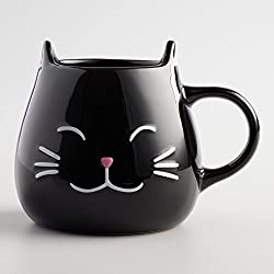 Black Cat Coffee Mug with Ears and Paw Print Inside - 17 Oz