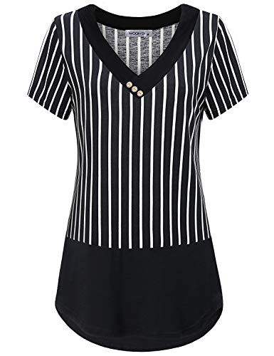 MOQIVGI Pinstripe Shirt,Womens Business Casual Tops Short Sleeve Crossover V Neck Button Detail Feminine Blouses Breathable Airy Striped Pattern Tunics Contemporary Designer Clothes Black Large