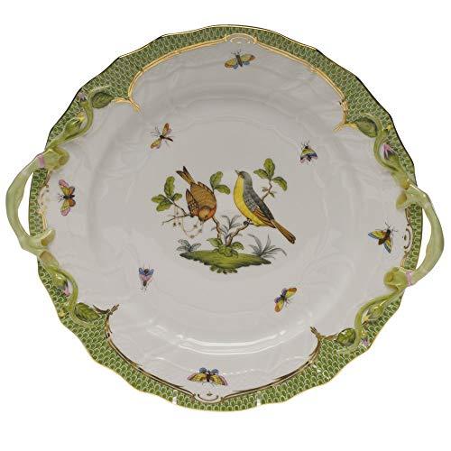 Herend Rothschild Bird Porcelain Chop Plate With Handles