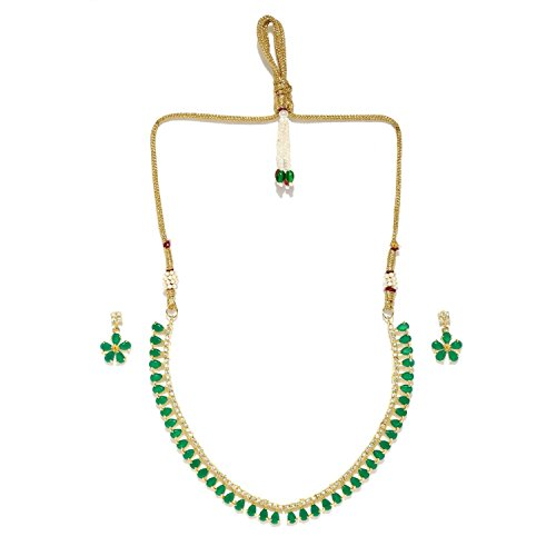 Efulgenz Bridal Crystal Cubic Zirconia Green Collar Necklace Earrings Jewelry Set for Women Girls Bride Bridesmaids