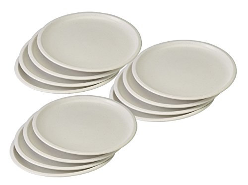 Set of 12 White Microwavable Plastic Plates - 10 Inch (12) (Plate Plastic Top)