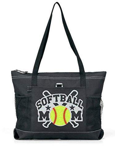 Glitter Softball Mom Tote Glitter Crossed Bats with a Yellow glitter Softball on a Large Tote (Silver Glitter on a Black Bag)