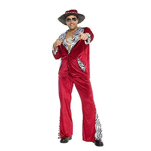 Mens Pimp Daddy Costume Burgundy Velvet Suit for Bachelor Stag Party Fancy Dress ()