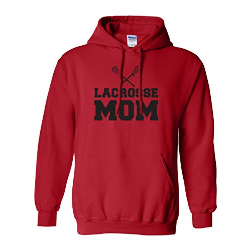zerogravitee Lacrosse Mom Adult Hooded Sweatshirt in Red with black text - Large
