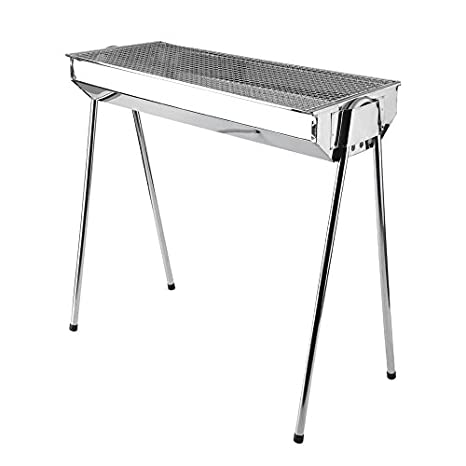 eb89fb8bc00 Image Unavailable. Image not available for. Color  Isabelvictoria Foldable  Barbecue Charcoal Grill Outdoor Portable BBQ Stove Stainless Steel ...