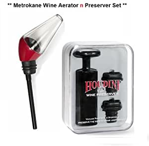 Metrokane  Pastic Wine Aerating Pourer with Houdini Wine Preserver with Two Stoppers,  black