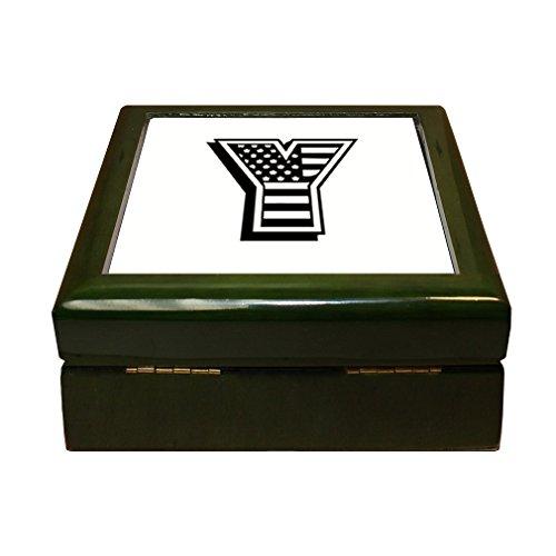 Initial Tile Box (Style in Print Y American Flag Initial Monogram Letter Y 4