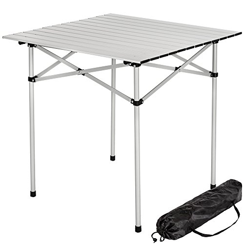 TecTake-Aluminium-Campingtisch-Rolltisch-klappbar-70x70x70cm-inkl-Tragetasche