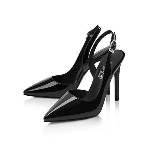 Black Sexy Sandals Heels Thin Fashion Baotou Shoes Heels CJC High Women's Heeled high qqzH7