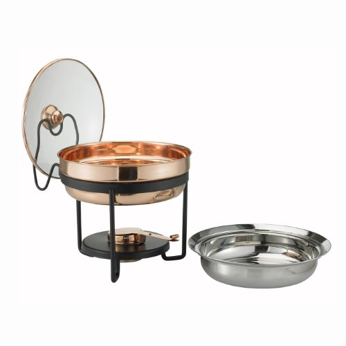 Round Copper Chafing Dish - Décor Copper Chafing Dish with Glass Lid, 2.5 Quart, 11 In. x 11 In. x 11.25 In.