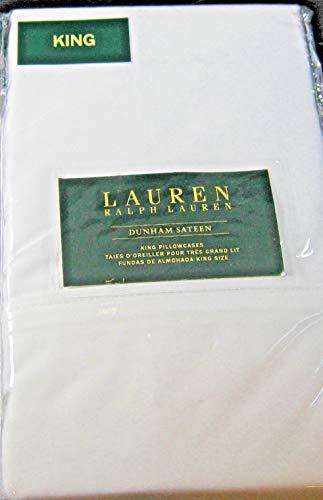 (Ralph Lauren Set of Dunham Sateen King Size Pillowcases White -300 Thread Count 100% Cotton-)