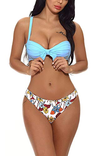 - Women Bikini Swimwear Tie Knot Padded Bathing Suit with Thong Bandage Printing Bottom Tankini(Light Blue-XL)